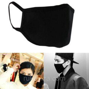 Тканевая защитная маска для лица (черная) многоразовая