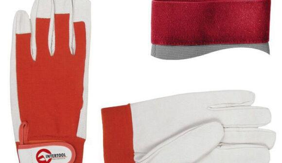 Перчатки кожанные комбинированные Intertool на липучке